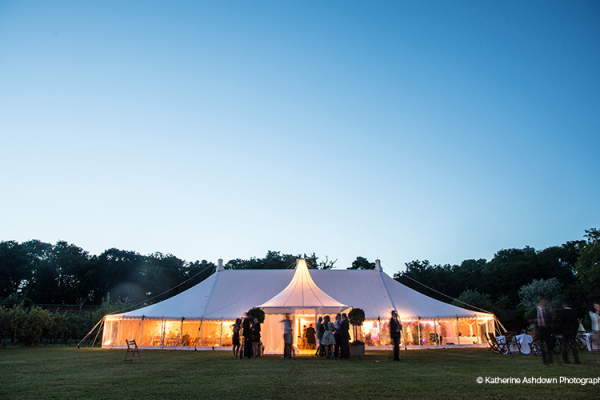 The marquee in the evening at Holkham Hall wedding venue in Norfolk | CHWV