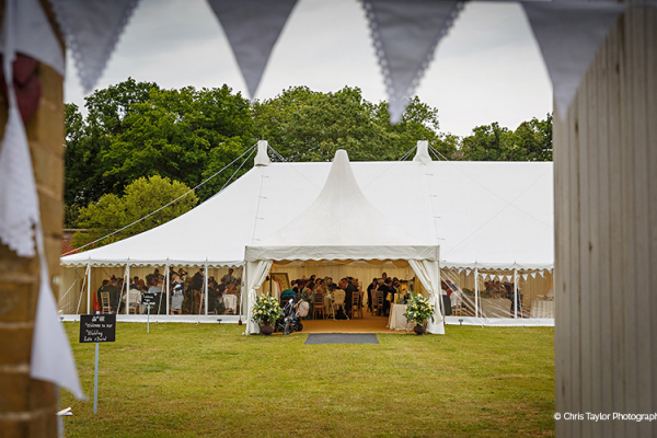 A view of the marquee at Holkham Hall wedding venue in Norfolk | CHWV