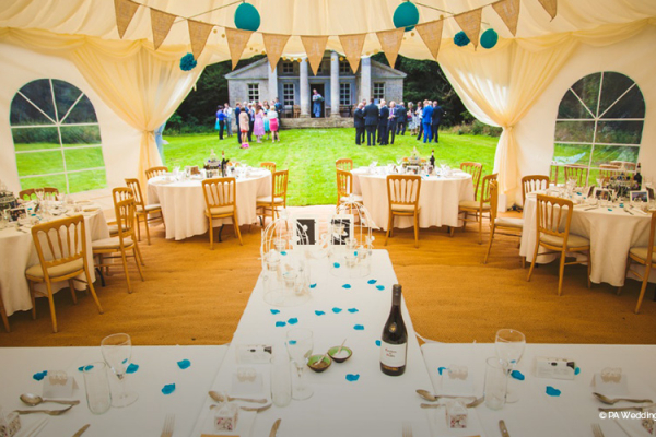 The marquee set up for a wedding breakfast at Holkham Hall wedding venue in Norfolk | CHWV