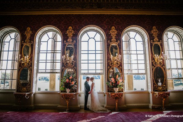 Beautiful bride and groom in The Saloon at Holkham Hall wedding venue in Norfolk | CHWV