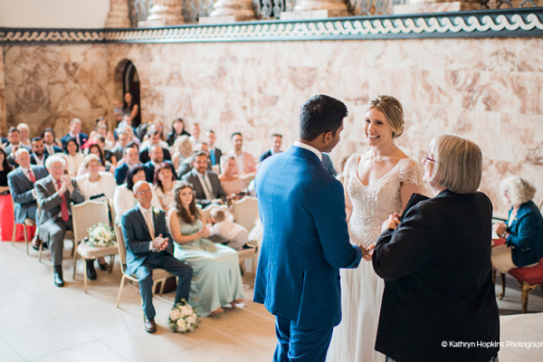 Ceremony in The Marble Hall at Holkham Hall wedding venue in Norfolk | CHWV