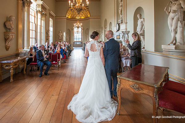 Ceremony in The Statue Gallery at Holkham Hall wedding venue in Norfolk | CHWV