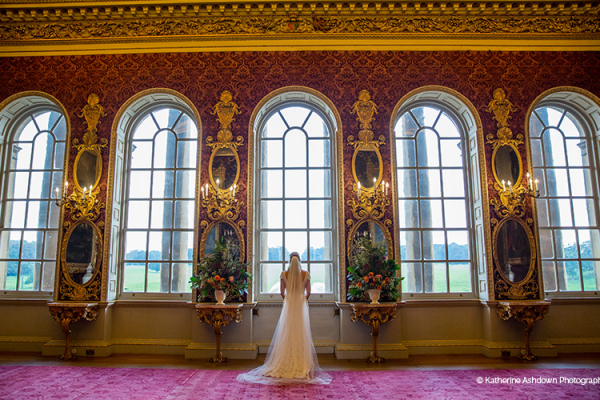 Beautiful bride in The Saloon at Holkham Hall wedding venue in Norfolk | CHWV
