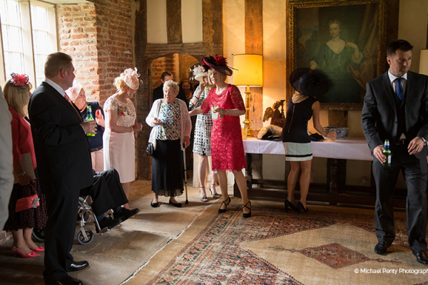 A drinks reception at Holme Pierrepont Hall wedding venue in Nottinghamshire | CHWV