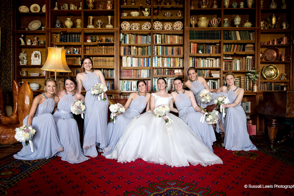 Bride and her bridesmaids in the Library at Homme House wedding venue in Herefordshire | CHWV
