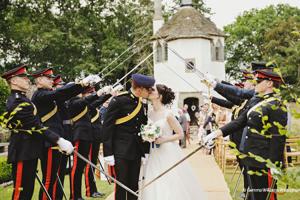 Guard of honour for a couple at Homme House wedding venue in Herefordshire | CHWV