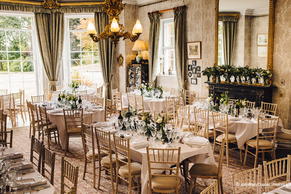 Set up for a wedding breakfast at Homme House wedding venue in Herefordshire | CHWV