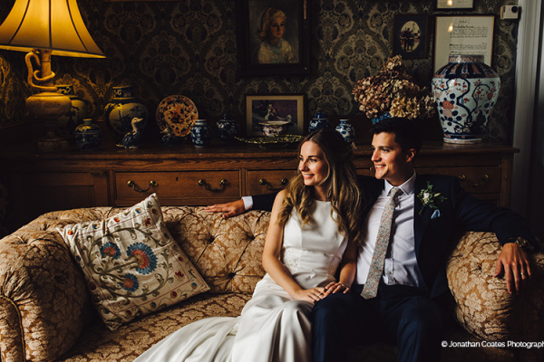 A happy couple relaxing at Homme House wedding venue in Herefordshire | CHWV