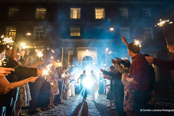 A sparkler send off at Homme House wedding venue in Herefordshire | CHWV