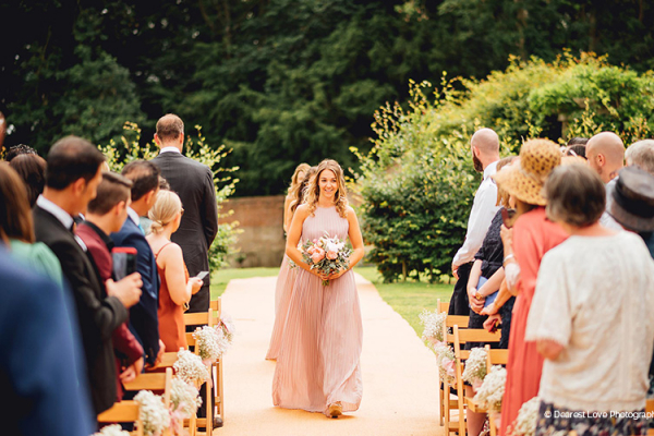 Bridesmaids at an outdoor ceremony at Homme House wedding venue in Herefordshire | CHWV