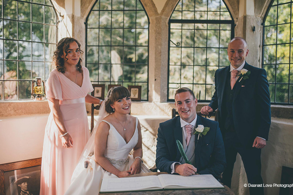 Signing the register at Homme House wedding venue in Herefordshire | CHWV