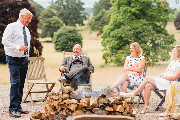 Fire bowls drinks reception at Homme House wedding venue in Herefordshire | CHWV