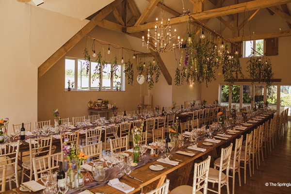 Set up for a wedding breakfast at Hyde House and Barn wedding venue in Gloucestershire | CHWV