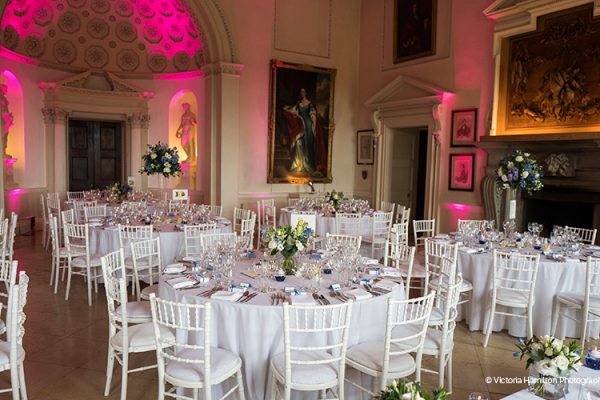 Set up for a wedding breakfast at Kirtlington Park in Oxfordshire | CHWV
