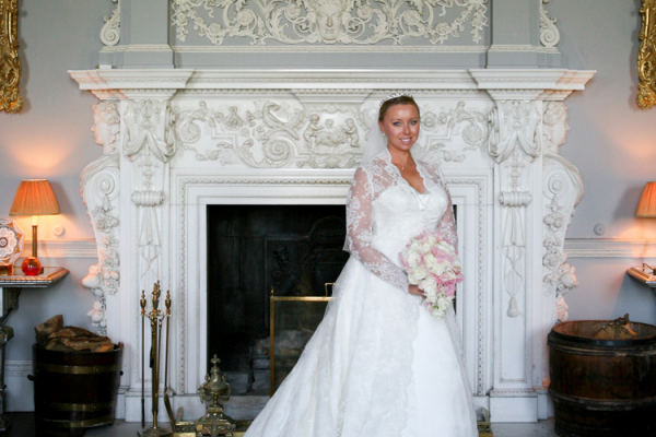 Bride in Grey Drawing Room at Kirtlington Park wedding venue in Oxfordshire | CHWV