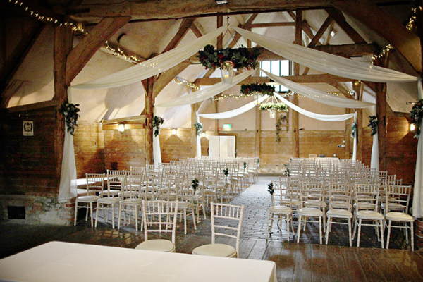 Set up for a wedding ceremony at Lains Barn wedding venue in Oxfordshire | CHWV
