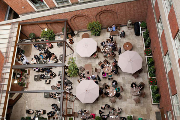 The courtyard at Lansdowne Club from above
