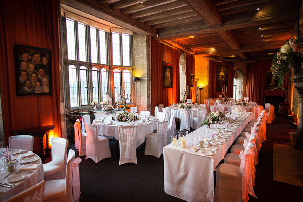 Set up for a wedding reception at Leeds Castle wedding venue in Kent | CHWV