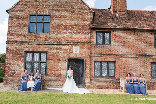 A bride and her bridesmaids at Lillibrooke Manor wedding venue in Berkshire | CHWV