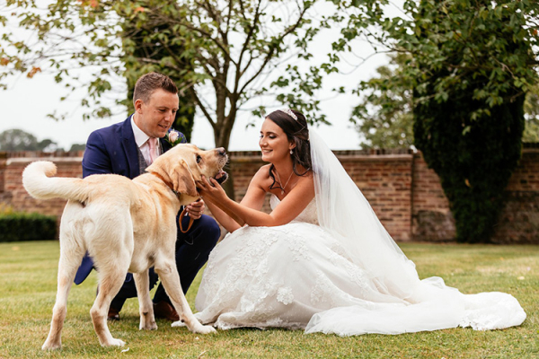 A Couple and their Dog at Lillibrooke Manor | Wedding Venues Berkshire