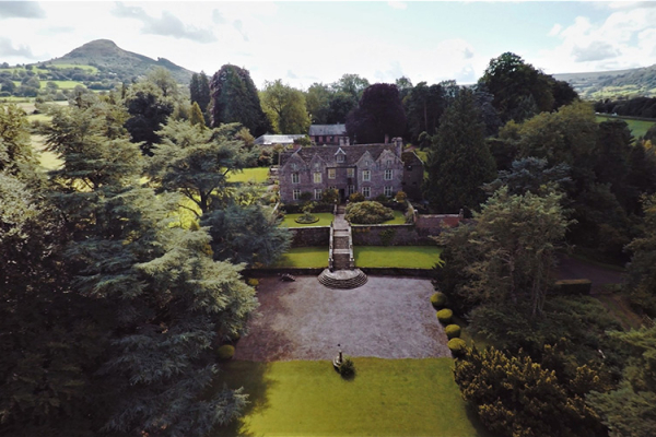 An aerial shot of Llanvihangel Court wedding venue in Monouthshire | CHWV