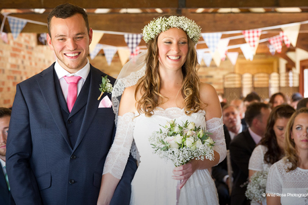 Wedding ceremony at Long Furlong Barn in West Sussex