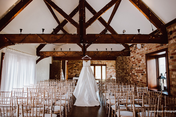 Set up for a wedding ceremony at Long Furlong Barn wedding venue in West Sussex | CHWV