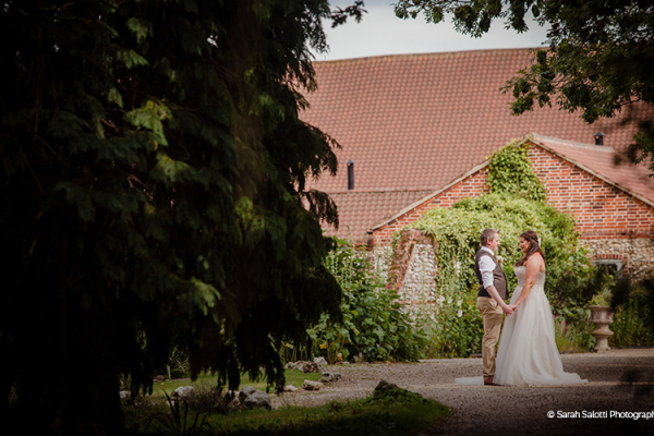 A happy couple in the grounds at Manor Mews