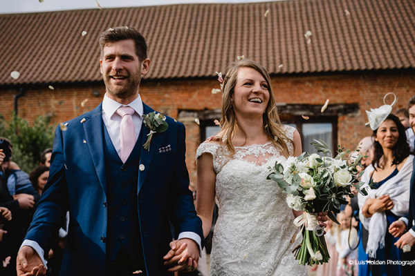 Just married confetti at Manor Mews barn wedding venue in Norfolk | CHWV