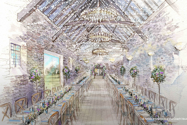 An artists impression of The Coach House at Mapperton wedding venue in Dorset | CHWV