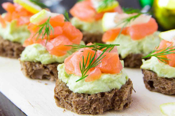 Delicious salmon canapes at Mapperton country house wedding venue in Dorset | CHWV