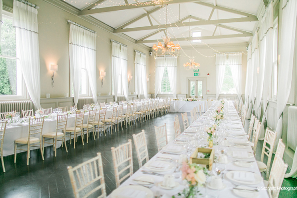 Set up for a wedding breakfast at Morden Hall country house wedding venue in London | CHWV