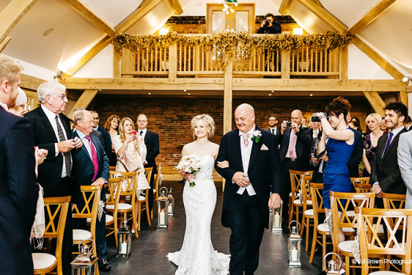 Wedding ceremony at Mythe Barn wedding venue in Leicestershire