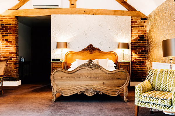 The honeymoon suite at Mythe Barn in Leciestershire
