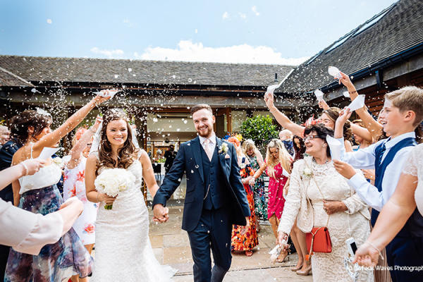Just married confetti shot at Mythe Barn wedding venue in Leicestershire | CHWV