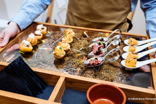 Delicious canapes at Mythe Barn wedding venue in Leicestershire | CHWV