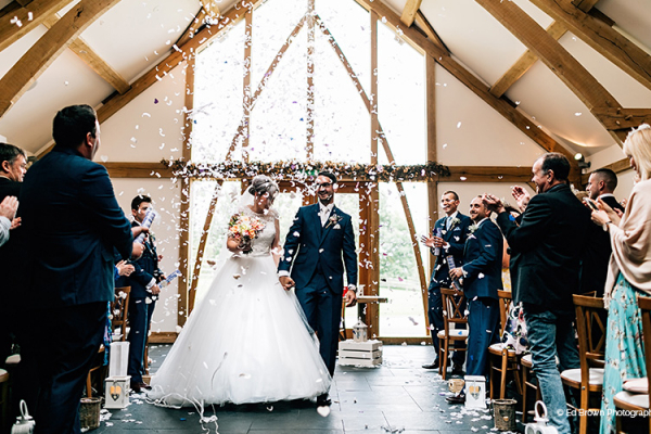 Just married at Mythe Barn wedding venue in Leicestershire