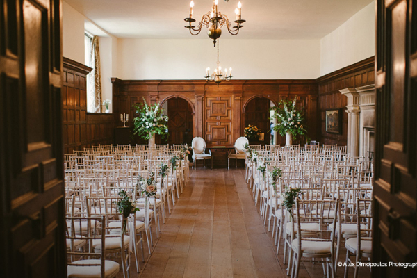 Set up for a wedding ceremony at North Cadbury Court wedding venue in Somerset | CHWV