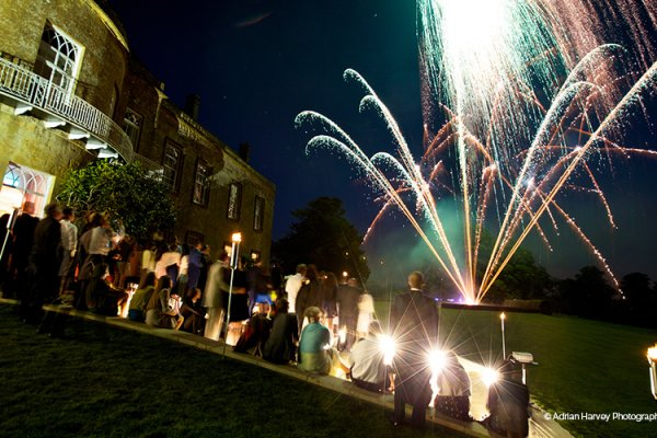 Fireworks in the evening at North Cadbury Court wedding venue in Somerset | CHWV
