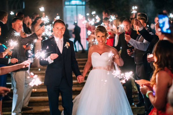 Celebrating with sparklers at North Cadbury Court wedding venue in Somerset | CHWV