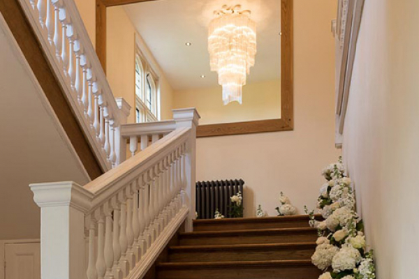 The staircase at Notley Abbey wedding venue in Buckinghamshire | CHWV