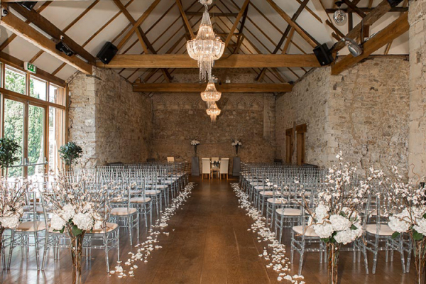 Set up for a wedding ceremony at Notley Abbey wedding venue in Buckinghamshire | CHWV