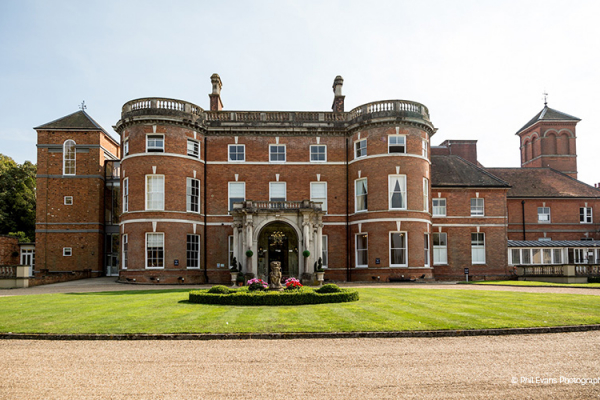 The front of Oakley Hall Hotel wedding venue in Hampshire
