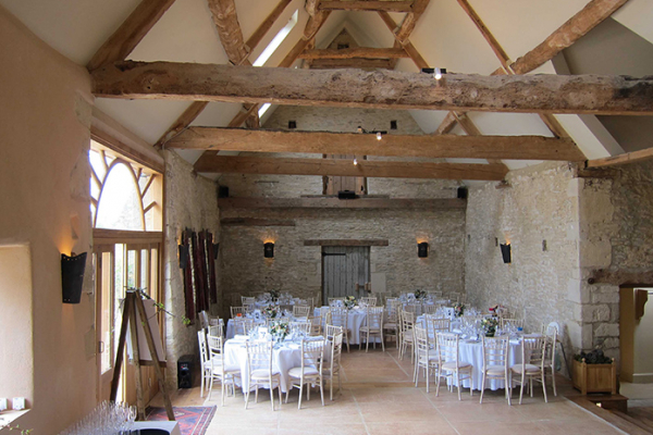 Oxleaze Barn set up for a wedding reception