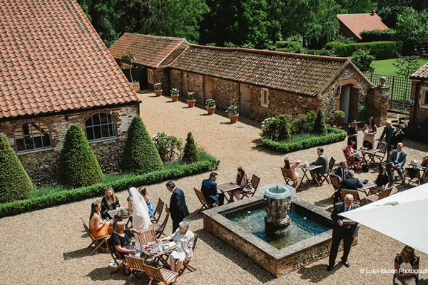 Aerial shot of the courtyard at Oxnead Hall wedding venue in Norfolk | CHWV