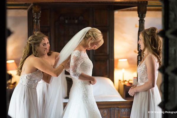 A bride getting ready for her wedding ceremony at Oxnead Hall wedding venue in Norfolk | CHWV