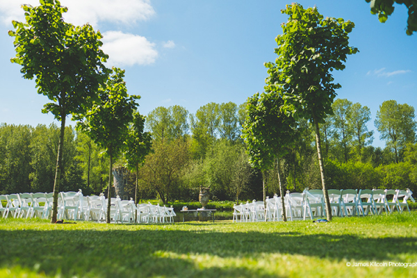 Set up for an outdoor wedding ceremony at Oxnead Hall wedding venue in Norfolk | CHWV