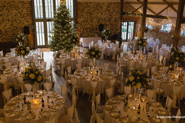 Set up for a wedding breakfast at Christmas at Oxnead Hall wedding venue in Norfolk | CHWV