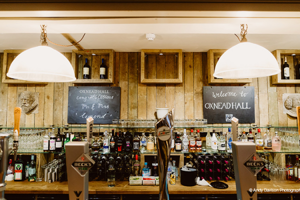 The bar at Oxnead Hall wedding venue in Norfolk | CHWV