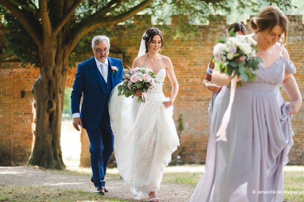 A bride with her father at Oxnead Hall wedding venue in Norfolk | CHWV